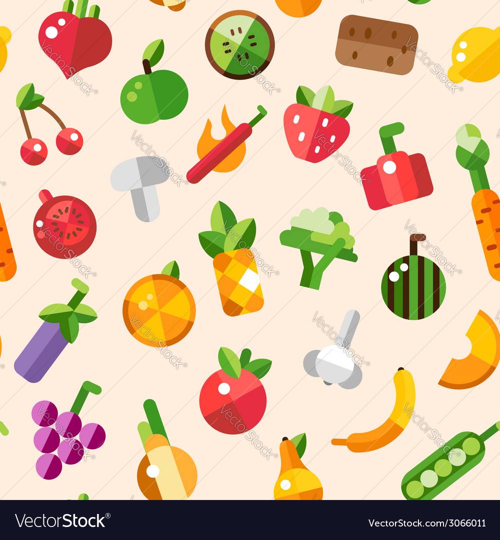 Flat design fruits and vegetables pattern vector | Price: 1 Credit (USD $1)