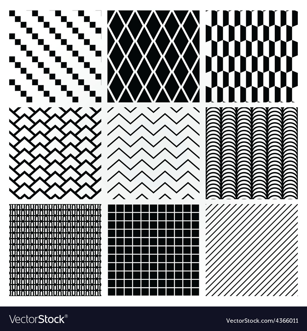 Geometric monochrome seamless background patterns vector | Price: 1 Credit (USD $1)