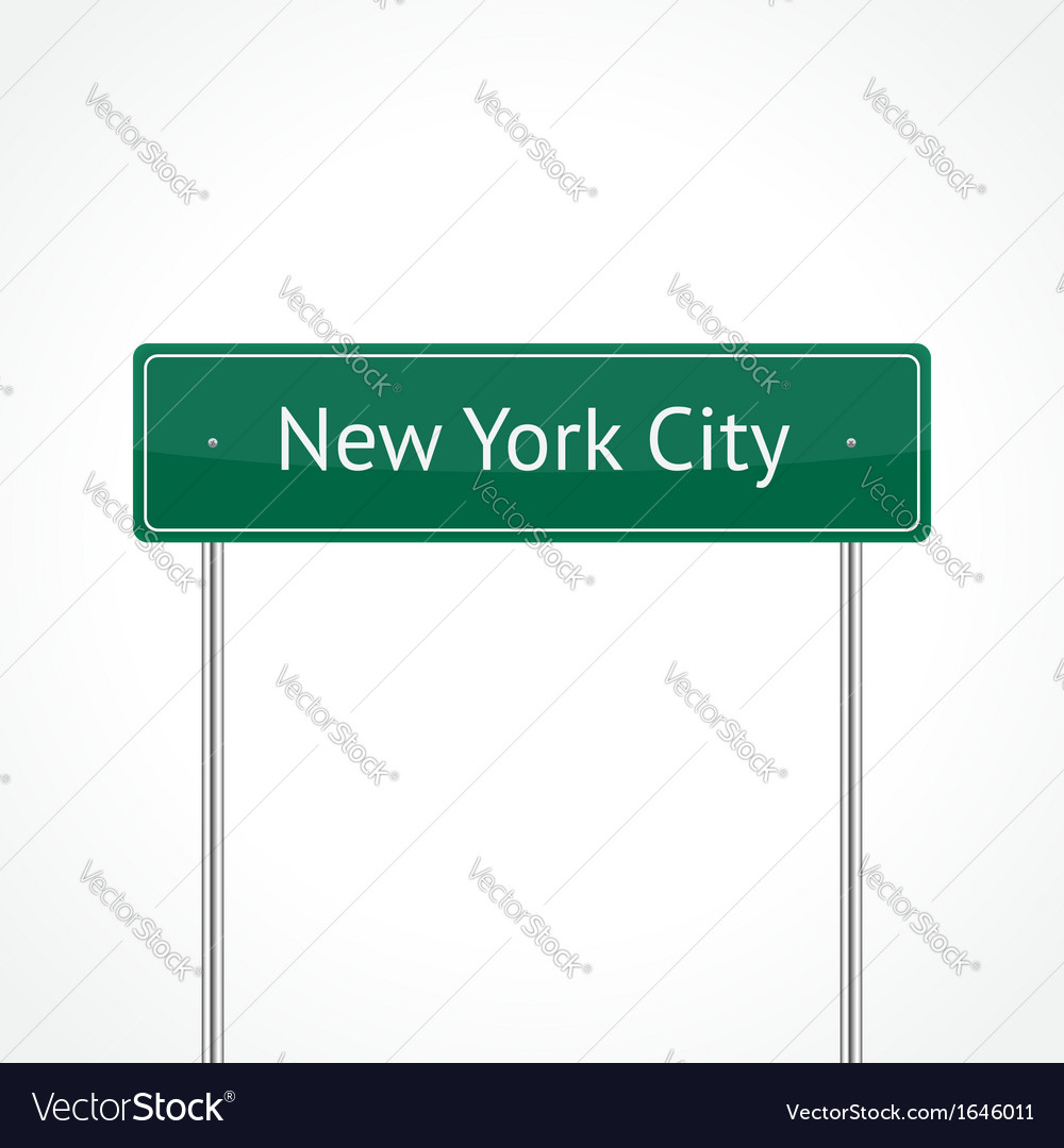 Green nyc traffic sign vector | Price: 1 Credit (USD $1)