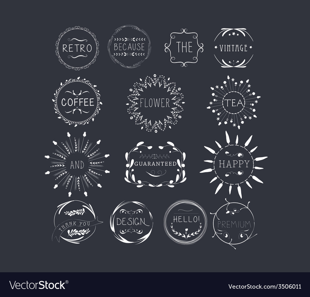 Hand drawn set of typography florals wreaths and vector   Price: 1 Credit (USD $1)