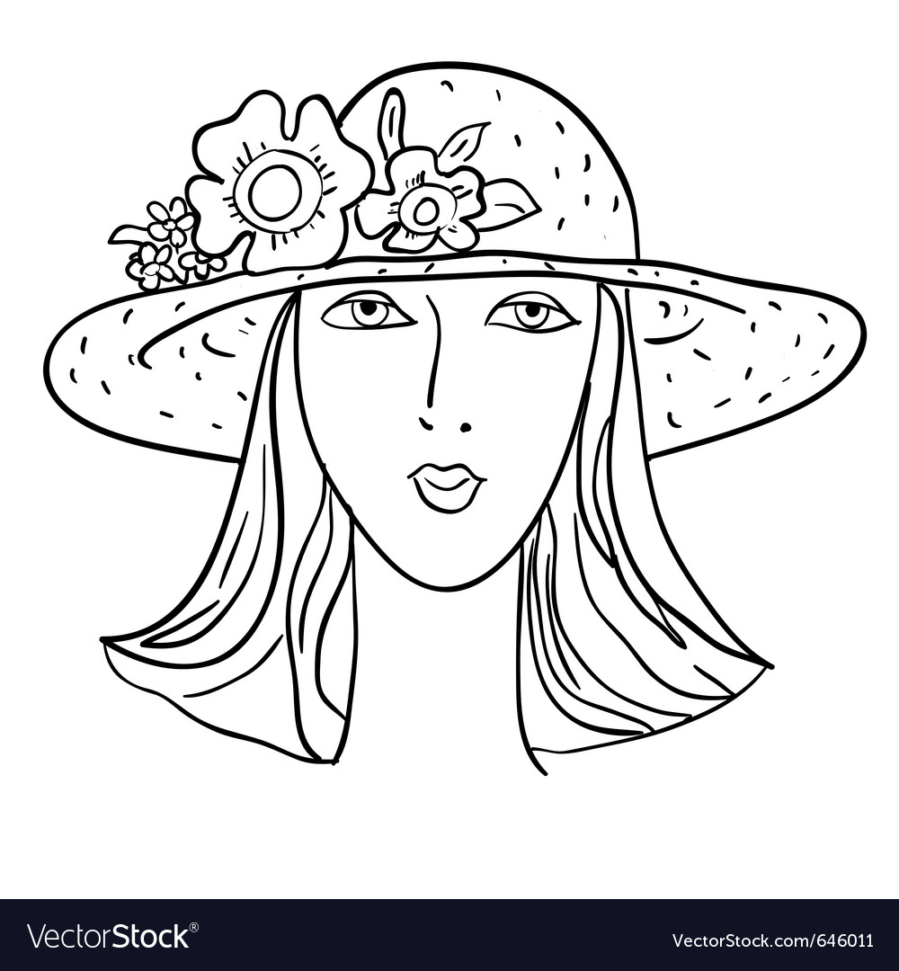 Hand-drawn fashion model womans face a hat vector | Price: 1 Credit (USD $1)