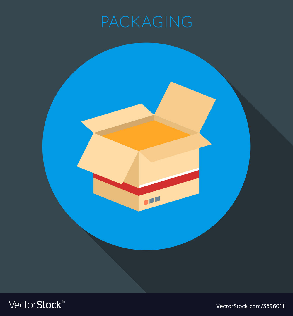 Packaging concept open cardboard box in fla vector | Price: 1 Credit (USD $1)