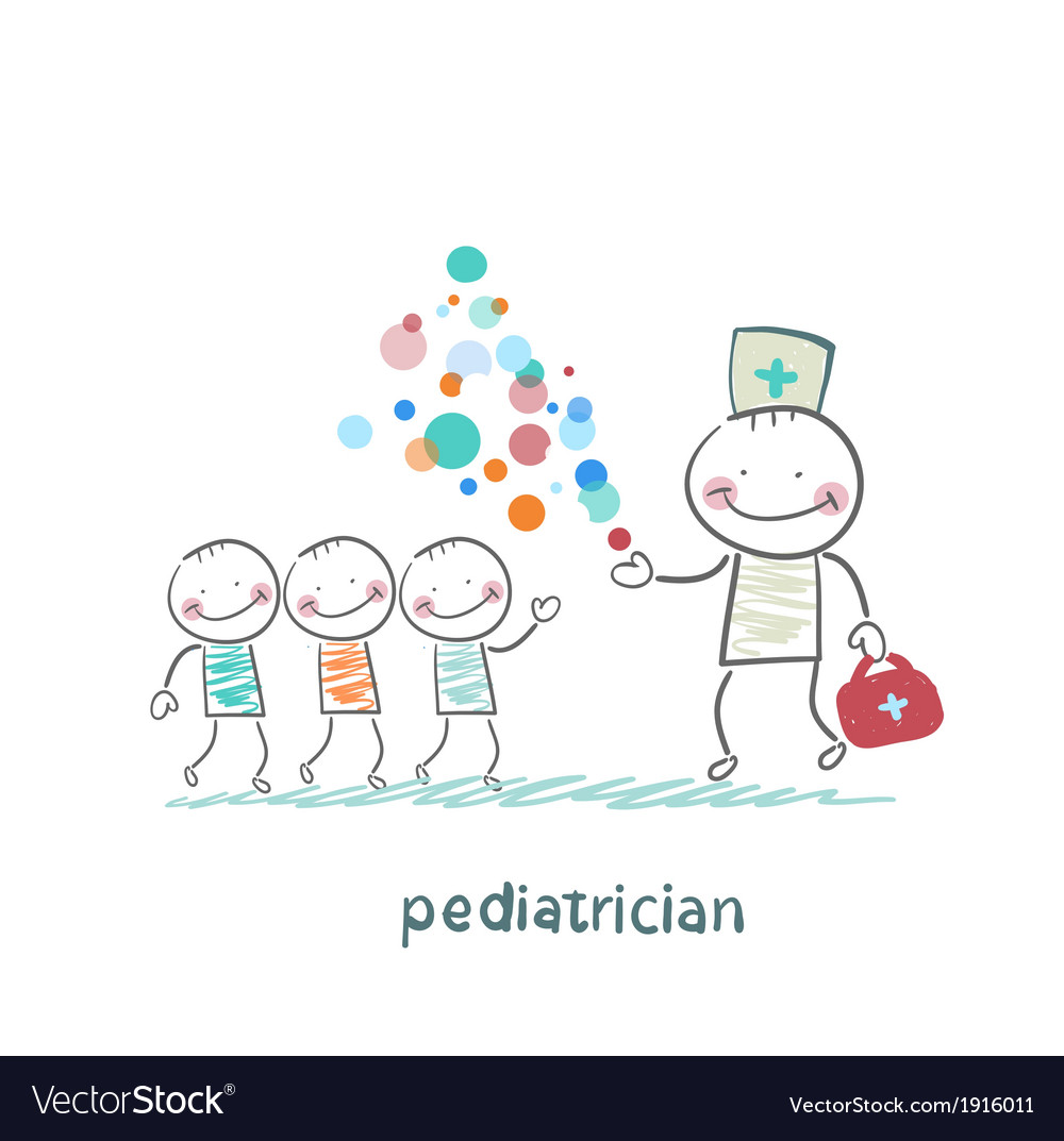 Pediatrician shows children miracle vector | Price: 1 Credit (USD $1)