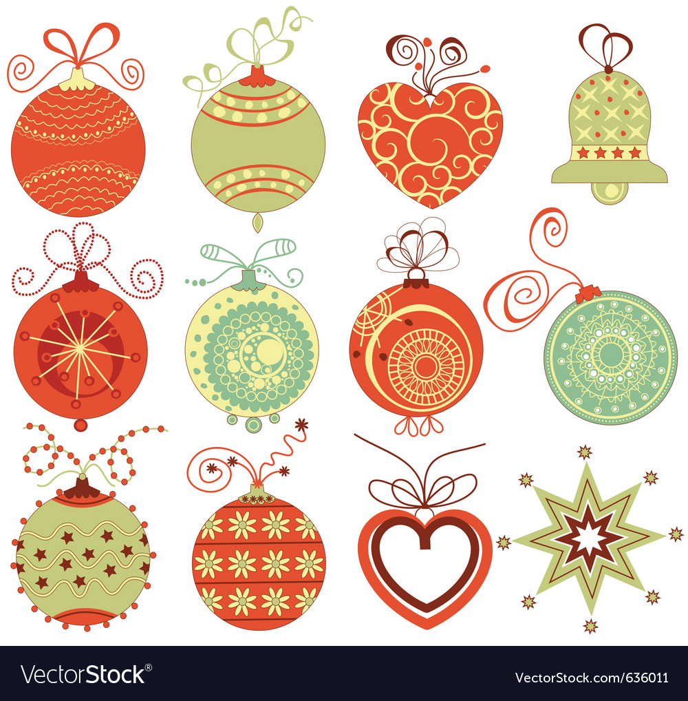 Retro christmas ornaments vector | Price: 1 Credit (USD $1)