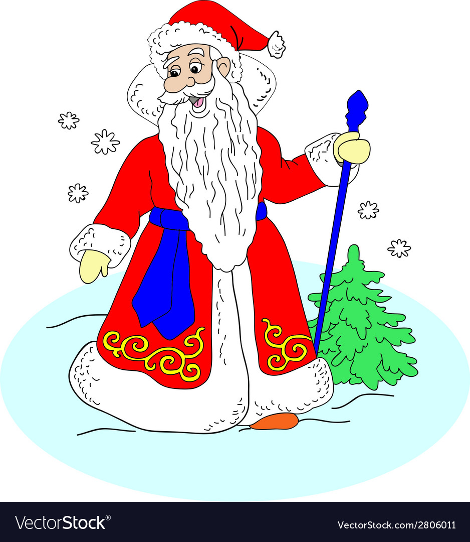 Santa claus goes through the woods vector   Price: 1 Credit (USD $1)