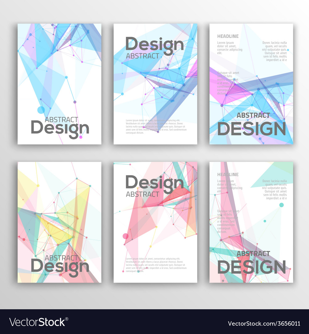 Set of flyer brochure design templates geometric vector | Price: 1 Credit (USD $1)