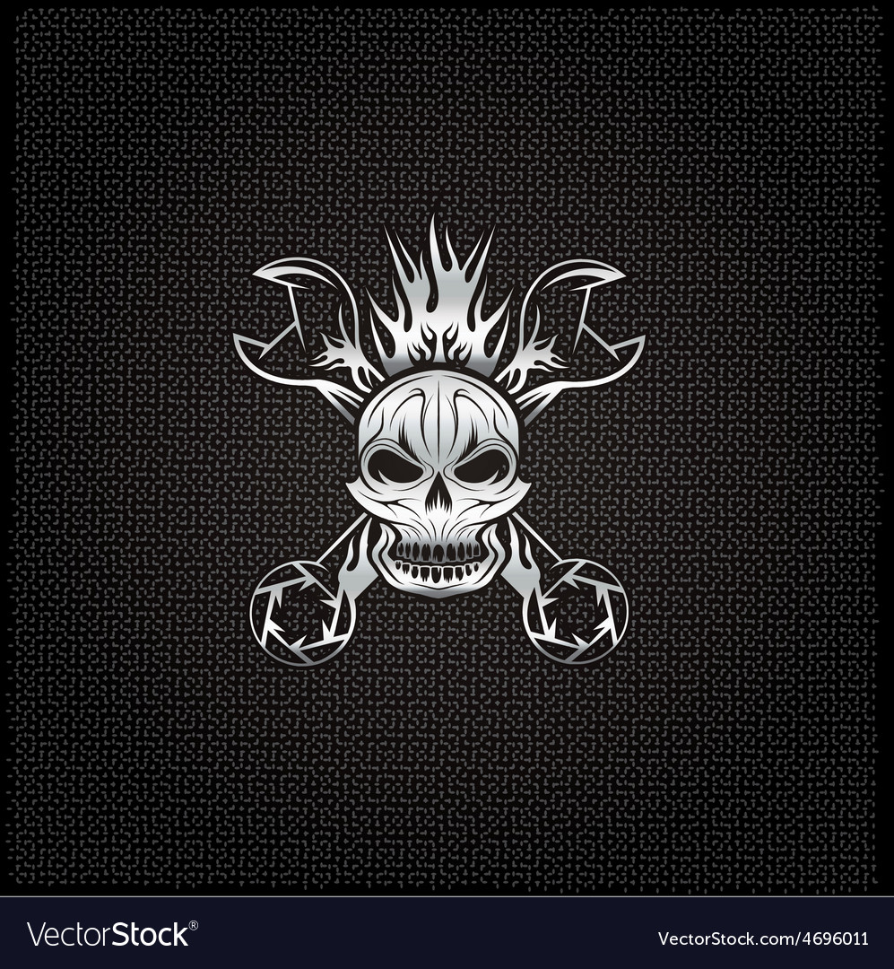 Silver crest with skullflame and spanners vector   Price: 1 Credit (USD $1)