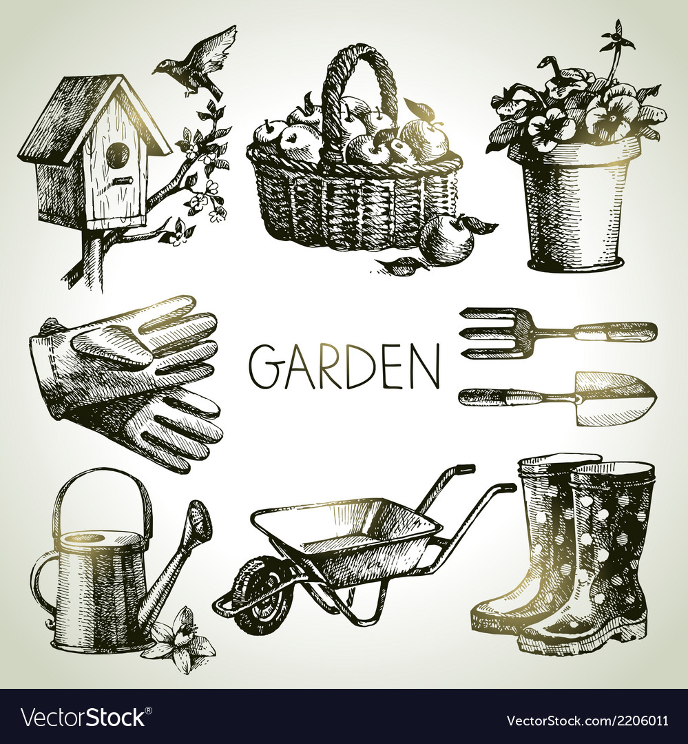 Sketch gardening set vector