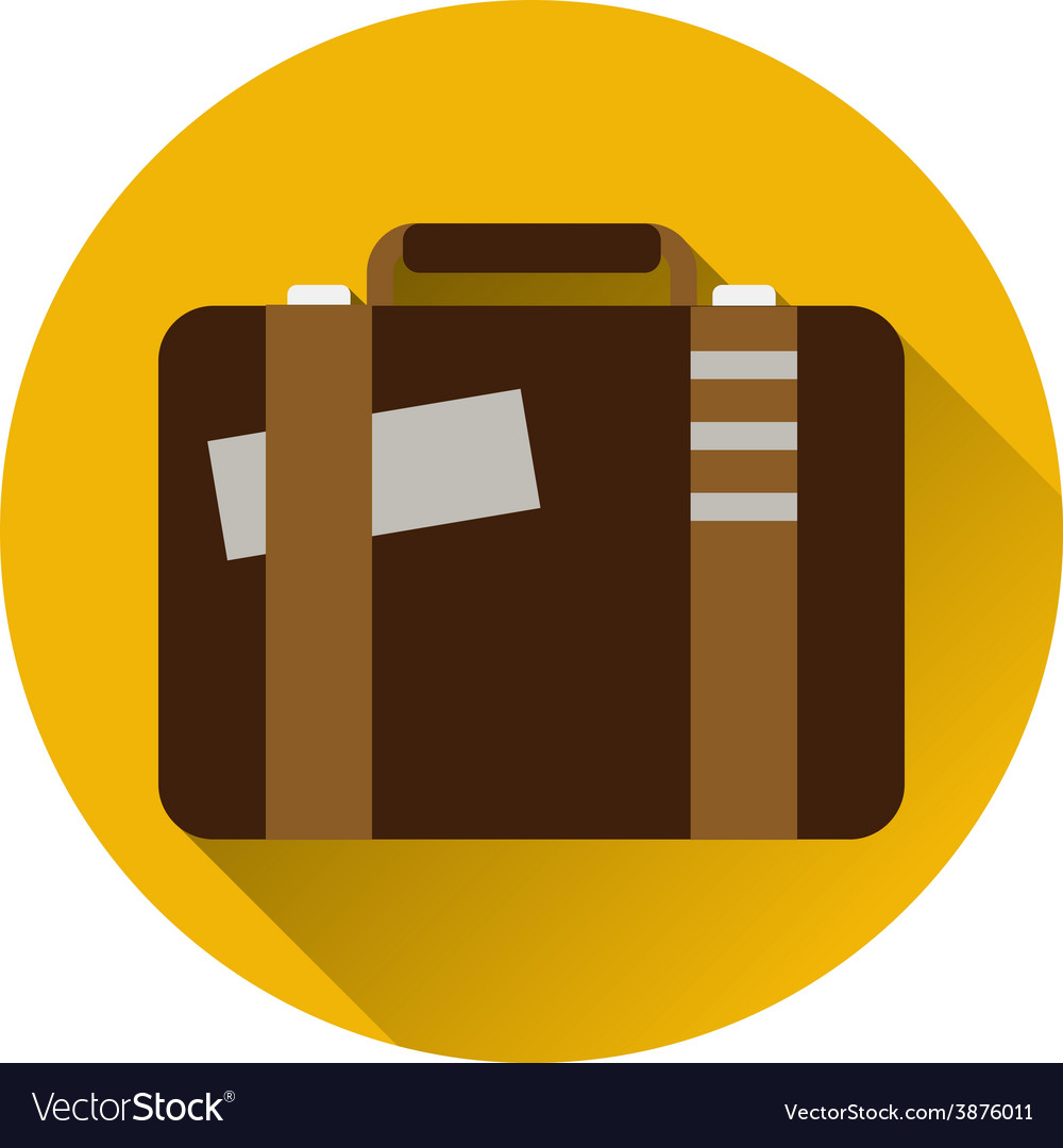 Vintage travel suitcases flat icon with long vector | Price: 1 Credit (USD $1)