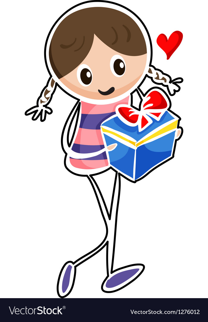A girl holding a blue gift box vector | Price: 1 Credit (USD $1)
