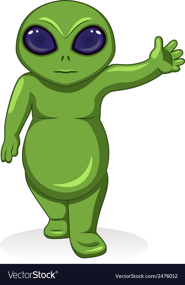 Cartoon green alien extraterrestrial character vector | Price: 1 Credit (USD $1)