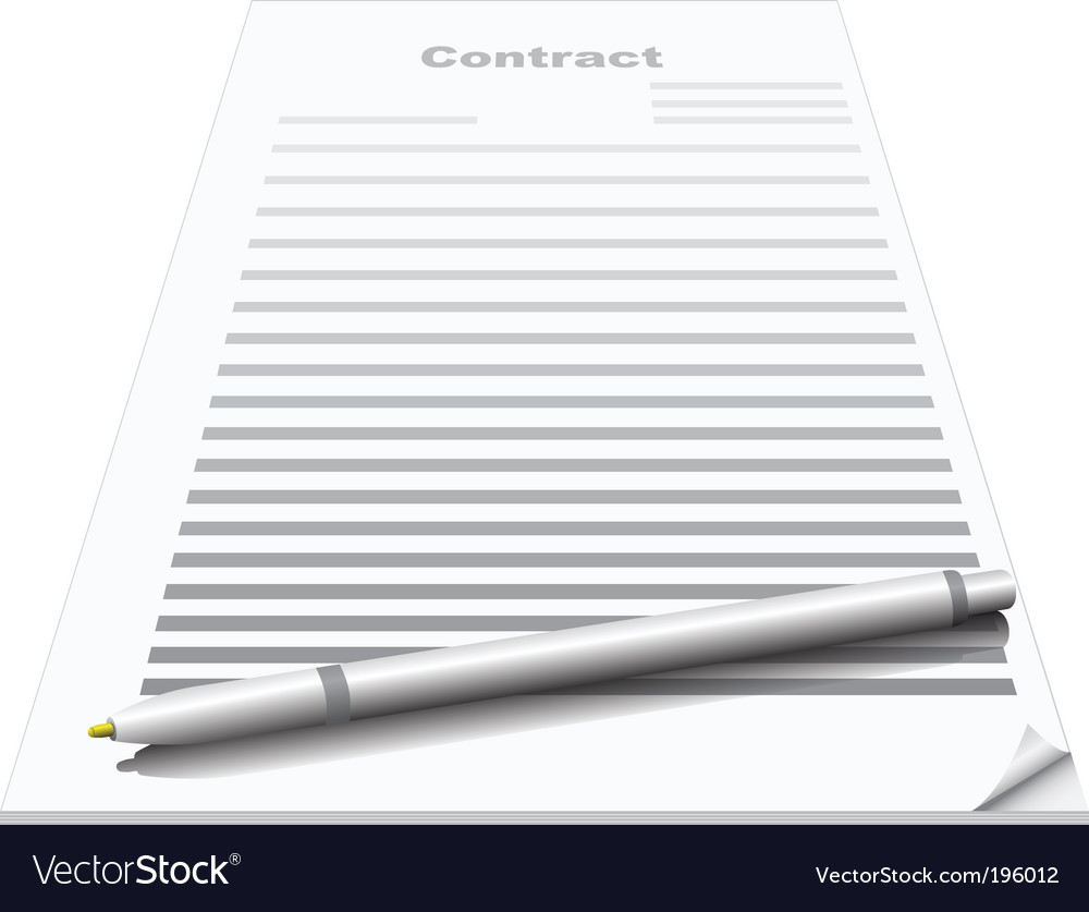 Contract and pen vector | Price: 1 Credit (USD $1)