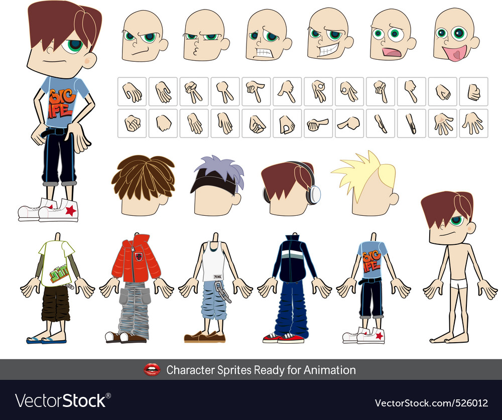 Crazy talk animator boy vector   Price: 3 Credit (USD $3)