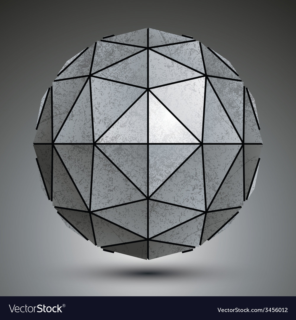 Grayscale galvanized 3d sphere created with vector | Price: 1 Credit (USD $1)
