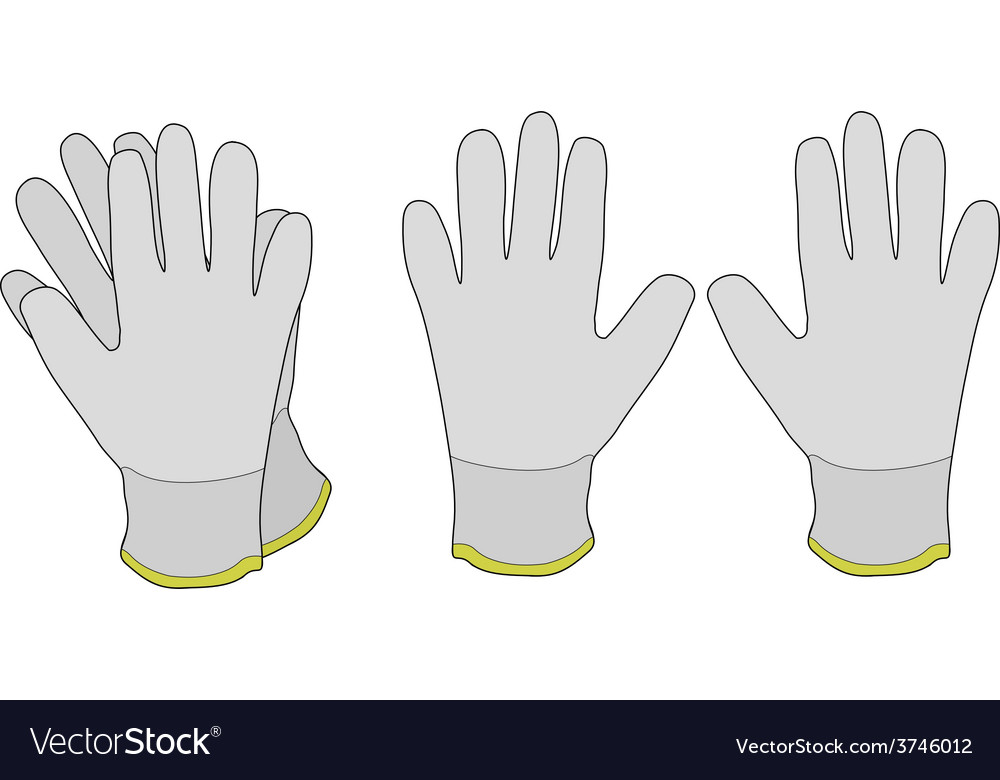 Pair of white fabric working gloves vector | Price: 1 Credit (USD $1)