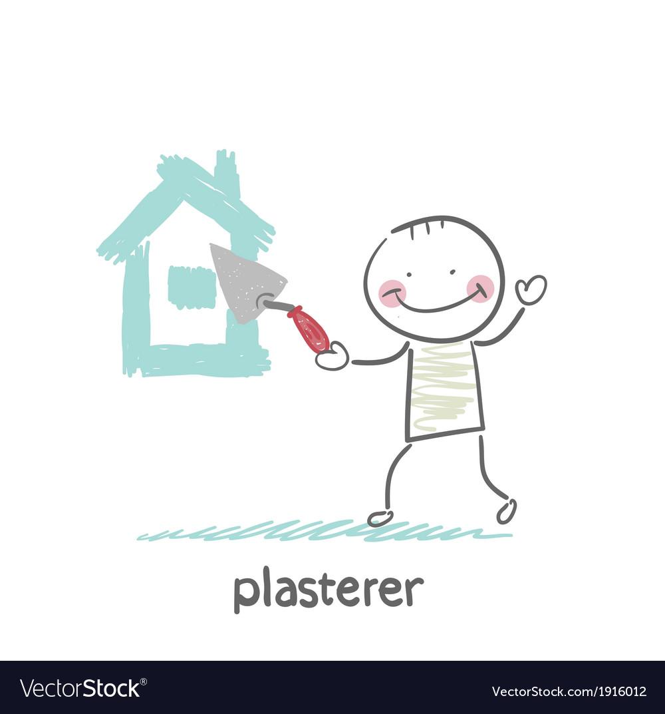 Plasterer paints cement house vector | Price: 1 Credit (USD $1)