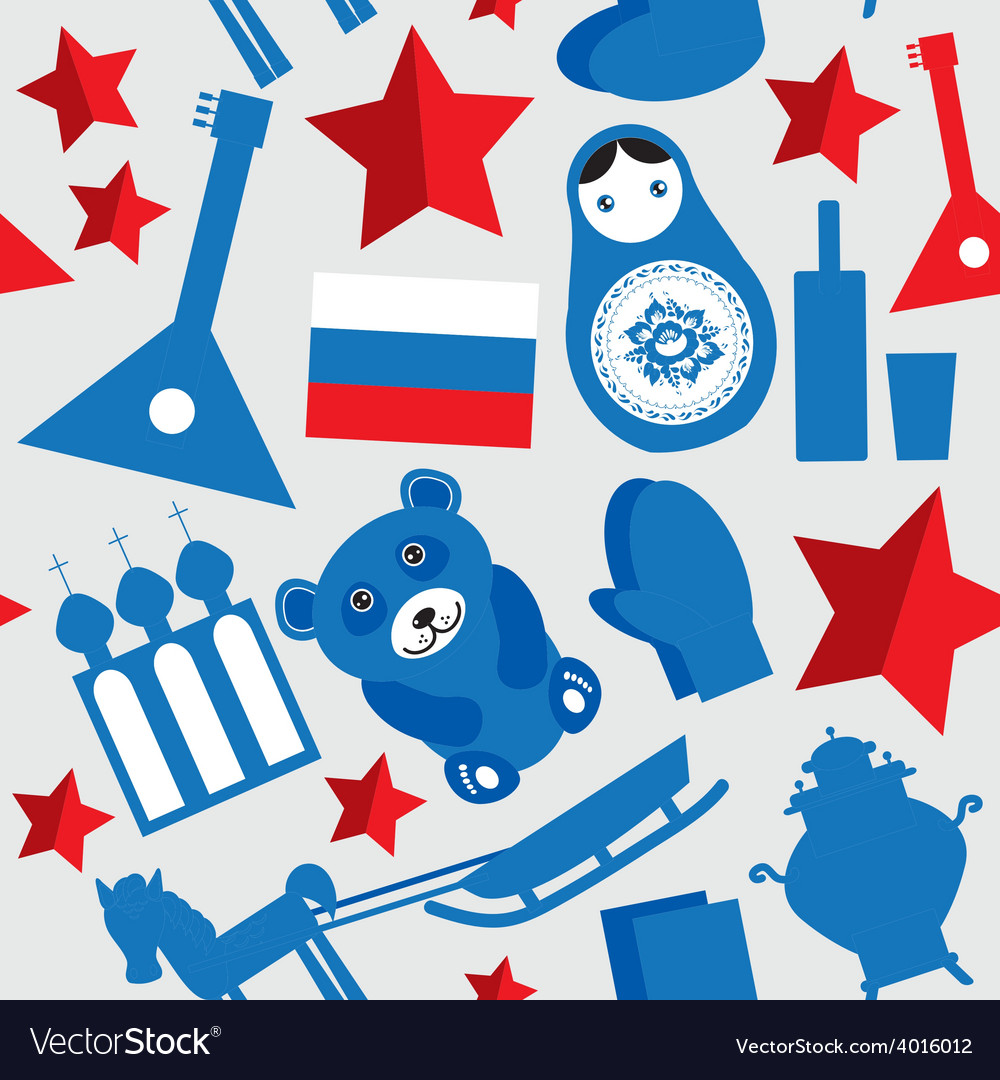Russia ussr seamless pattern black blue red on vector | Price: 1 Credit (USD $1)