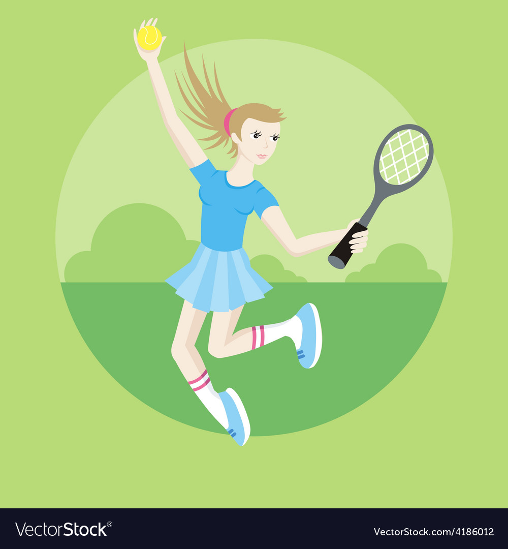 Sporty girl tennis player with racket vector | Price: 1 Credit (USD $1)