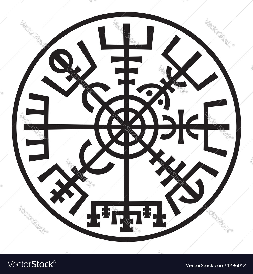 Vegvisir magic compass of vikings runic talisman vector | Price: 1 Credit (USD $1)