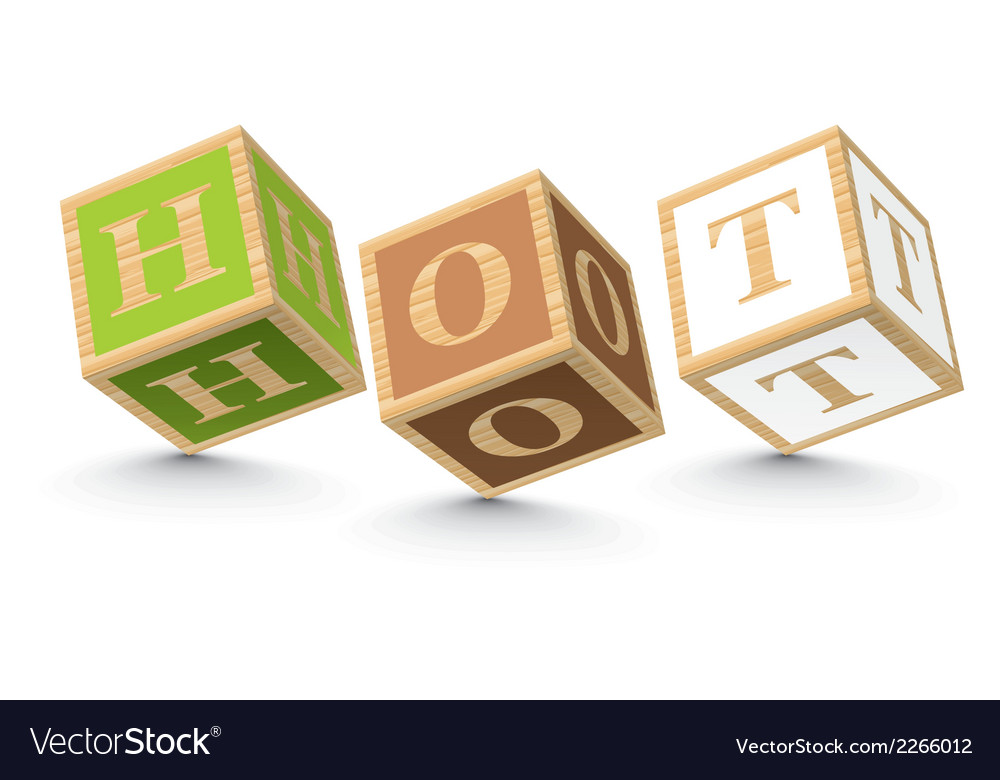 Word hot written with alphabet blocks vector | Price: 1 Credit (USD $1)