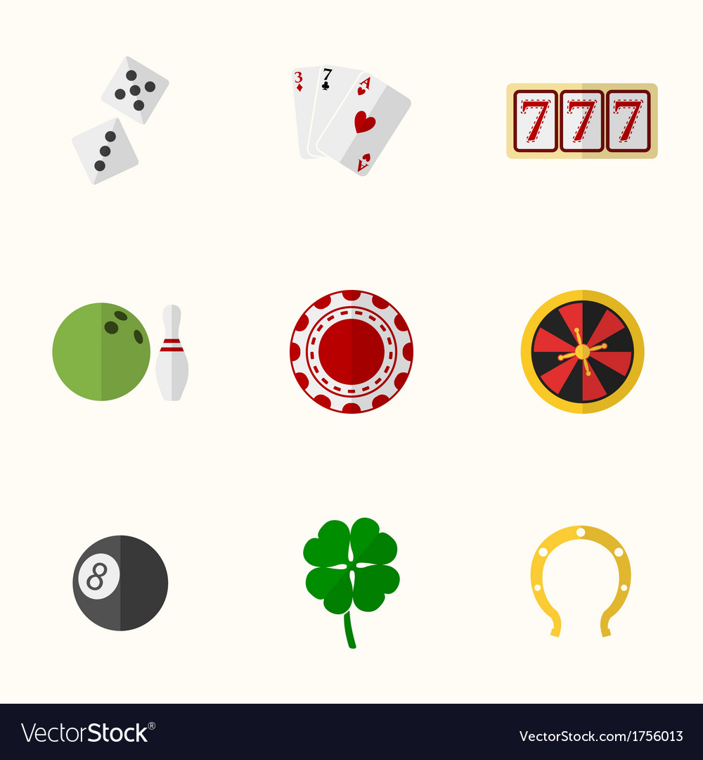 Casino and gambling flat icons vector | Price: 1 Credit (USD $1)