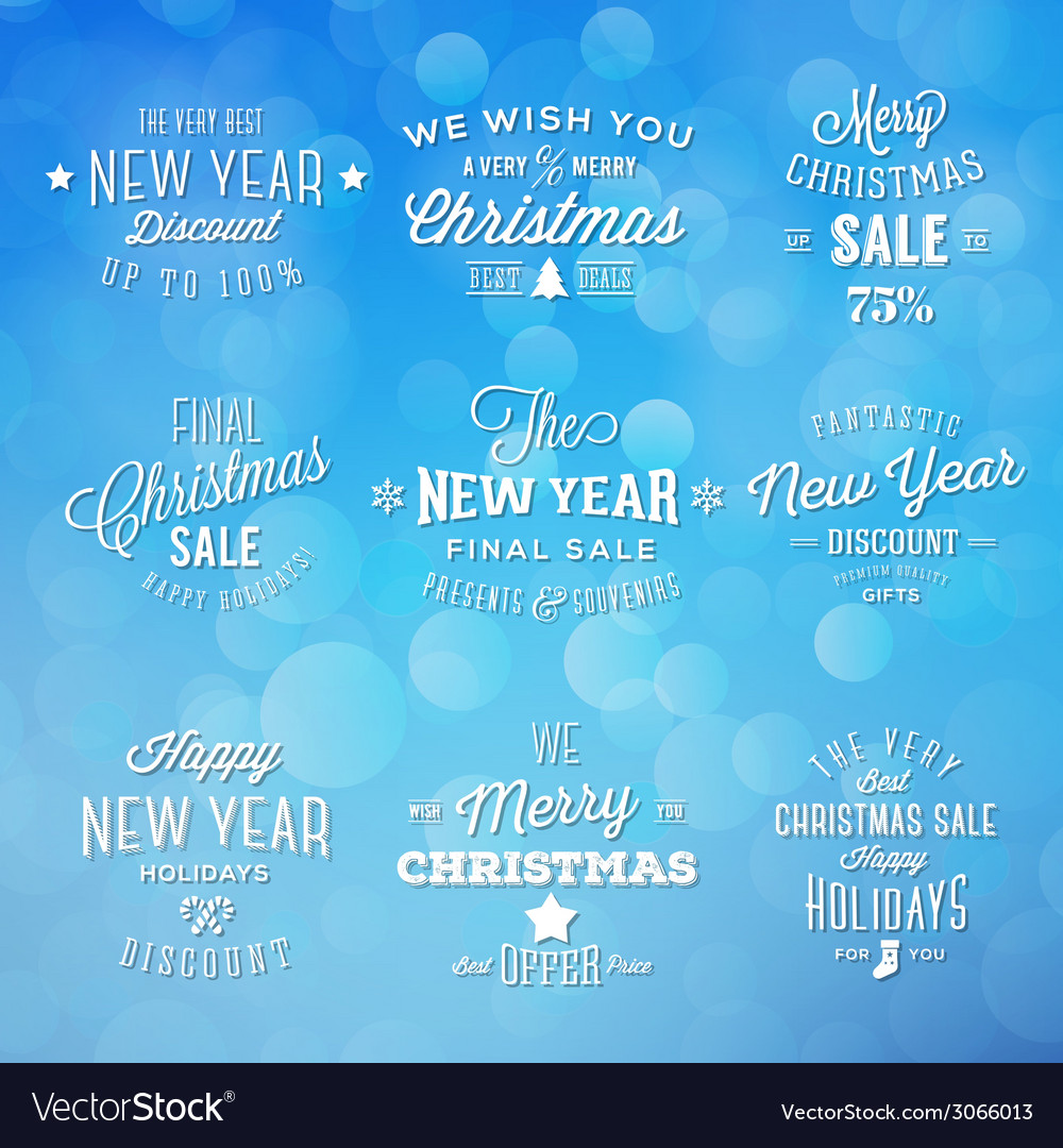 Christmas and new year vintage typography holidays vector | Price: 1 Credit (USD $1)