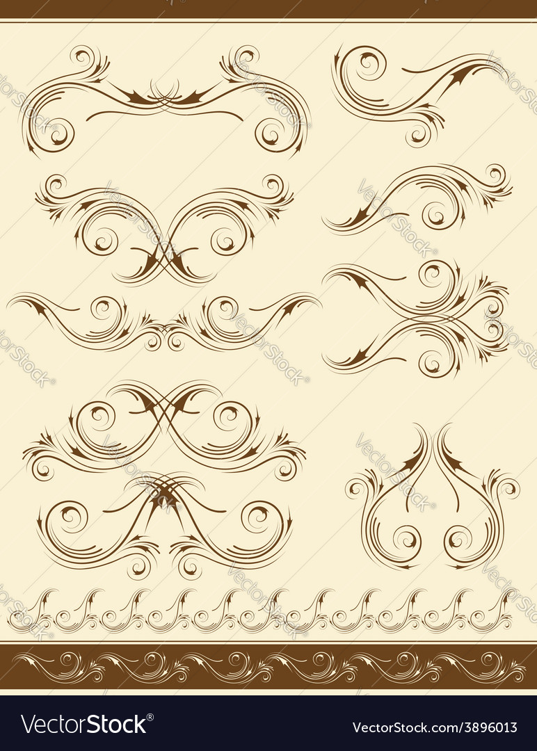 Decorative frame and ornaments for design vector | Price: 1 Credit (USD $1)