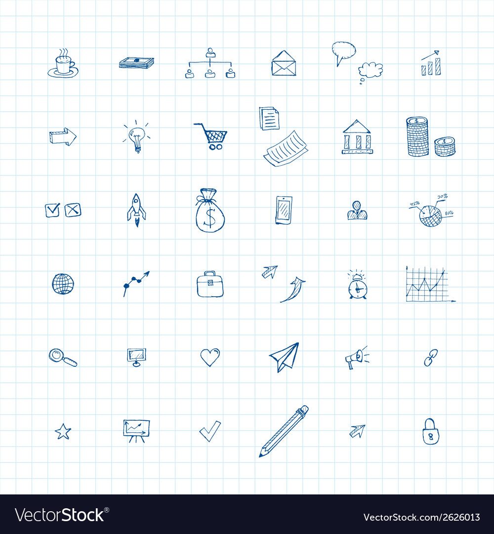 Doodles business icons vector | Price: 1 Credit (USD $1)