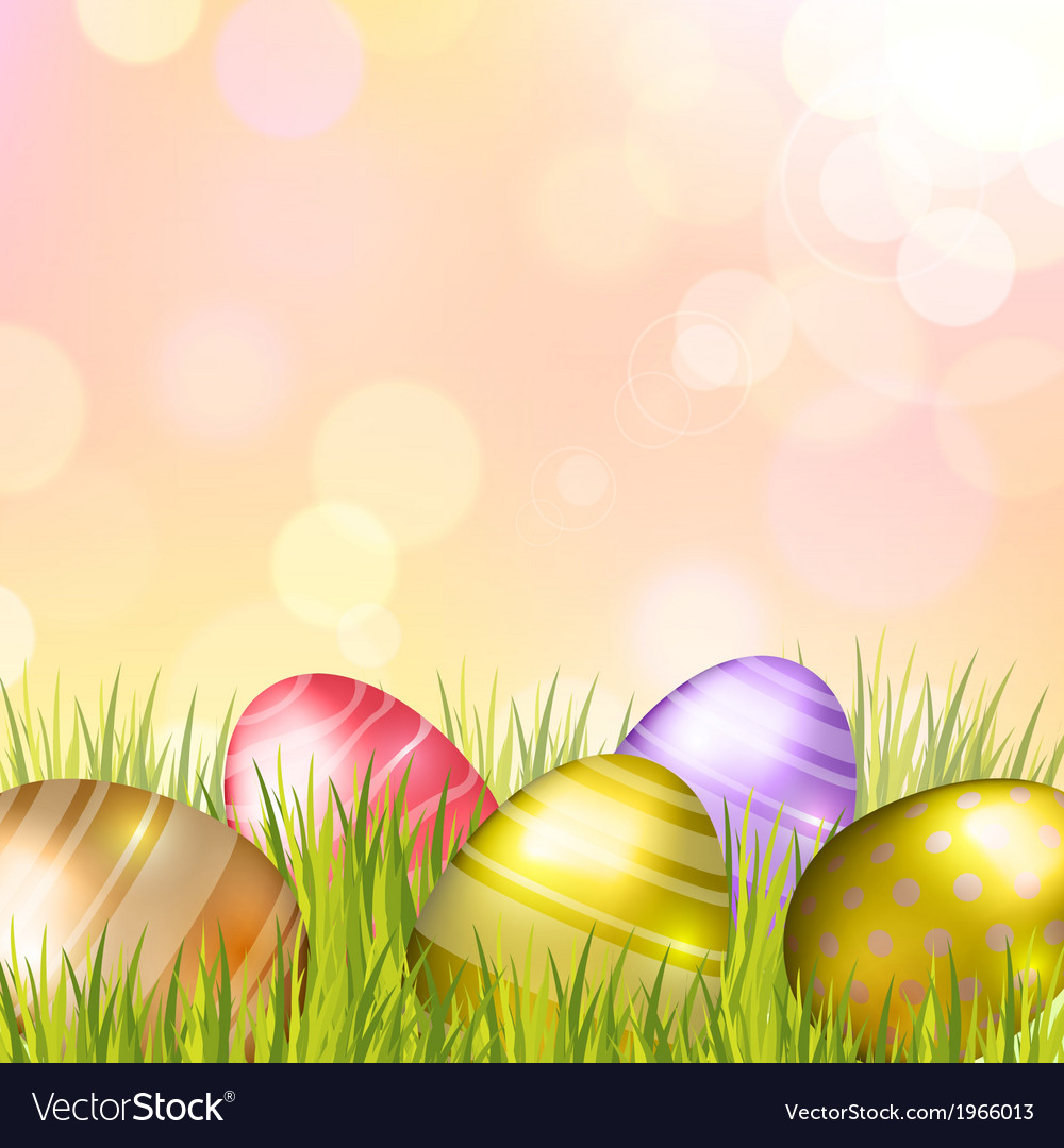 Easter bokeh background with eggs on meadow vector   Price: 1 Credit (USD $1)