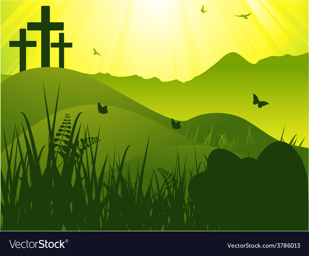 Easter serene background with crosses and eggs vector | Price: 1 Credit (USD $1)