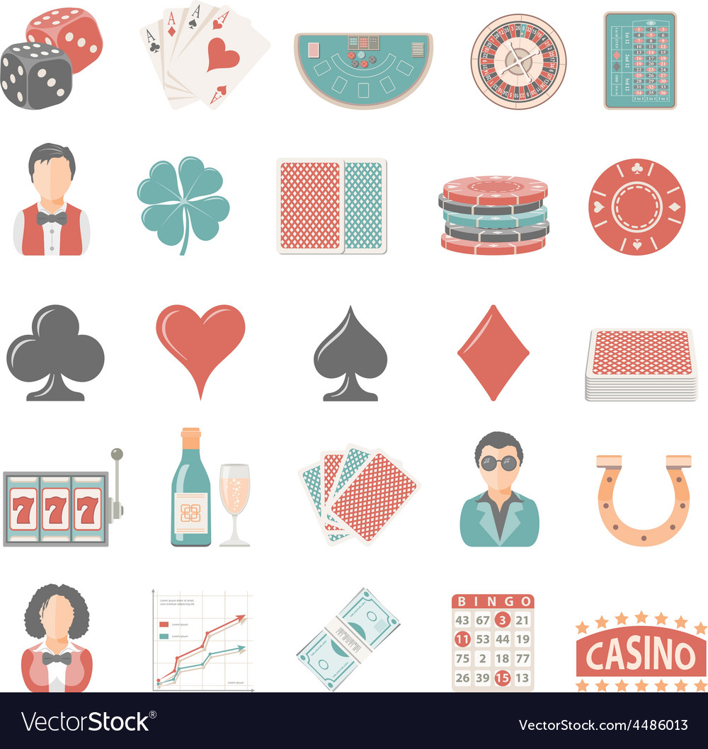 Flat icons gambling vector | Price: 1 Credit (USD $1)