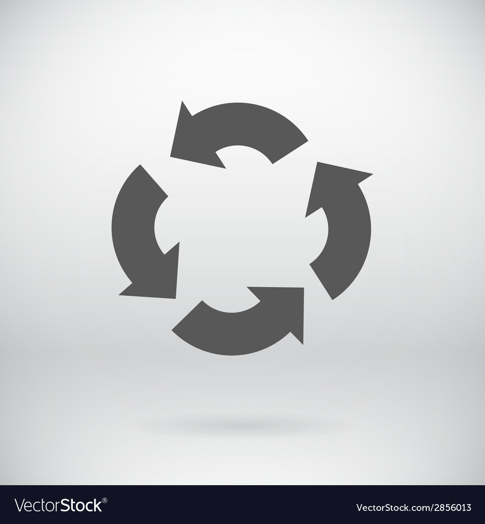 Flat recycle sign arrows symbol background vector | Price: 1 Credit (USD $1)