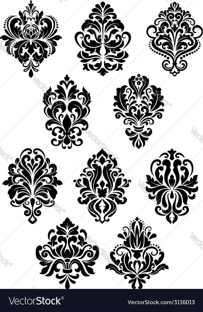 Foliate arabesque design elements vector | Price: 1 Credit (USD $1)