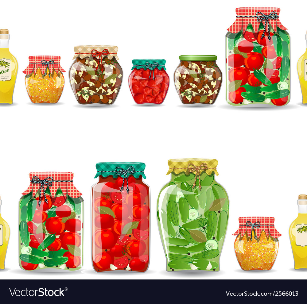 Seamless border with preserve food vector | Price: 1 Credit (USD $1)
