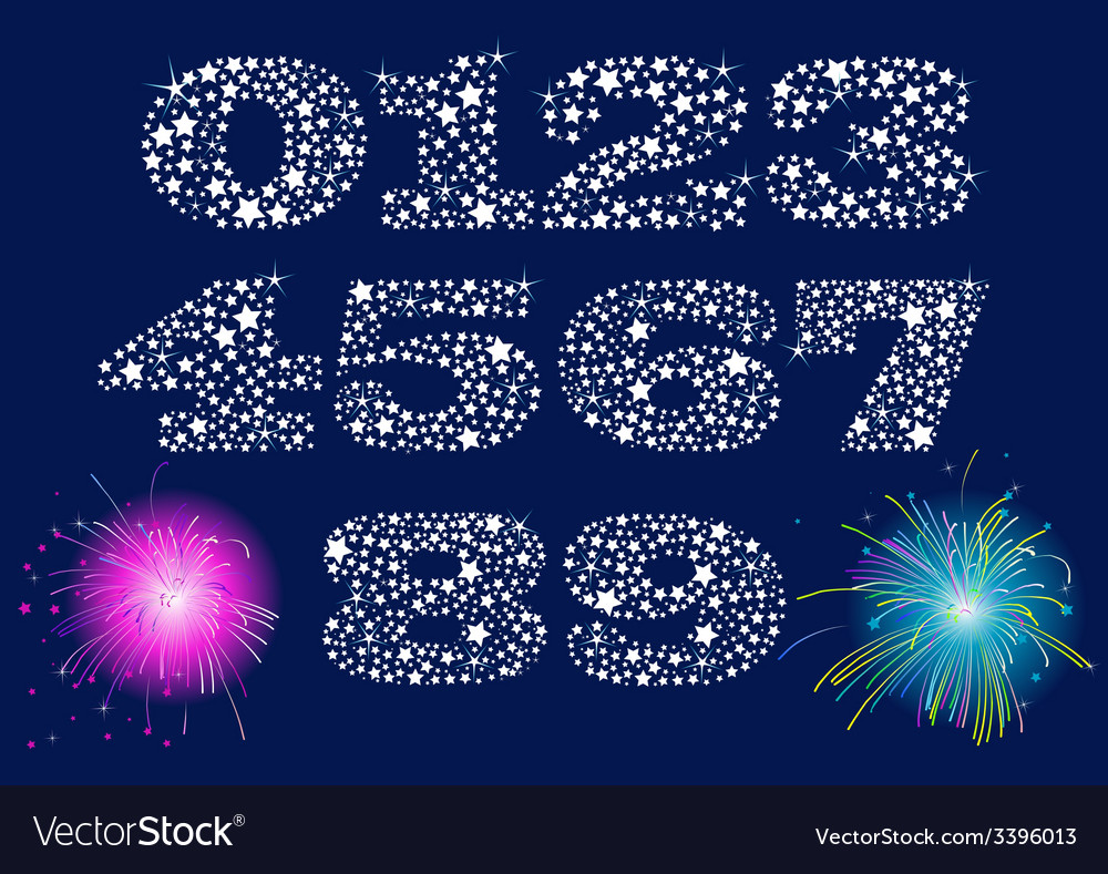 Shiny numbers set vector | Price: 1 Credit (USD $1)