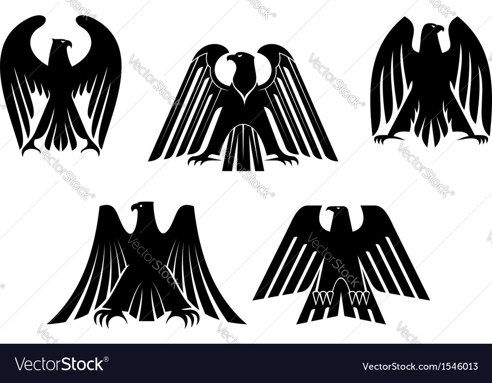 Silhouettes of eagles vector | Price: 1 Credit (USD $1)
