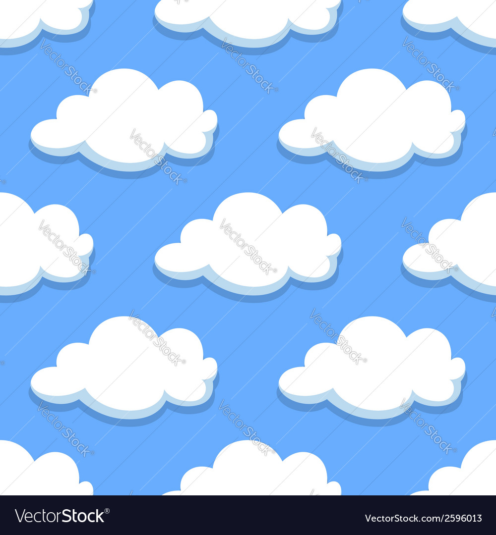 Sky seamless pattern with white clouds vector   Price: 1 Credit (USD $1)