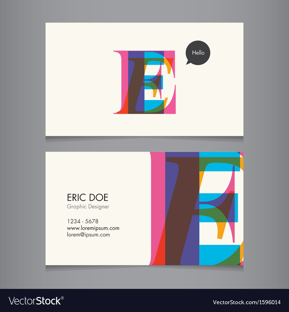 Business card template letter e vector | Price: 1 Credit (USD $1)