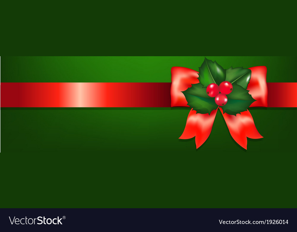 Christmas red ribbons with holly berry vector | Price: 1 Credit (USD $1)