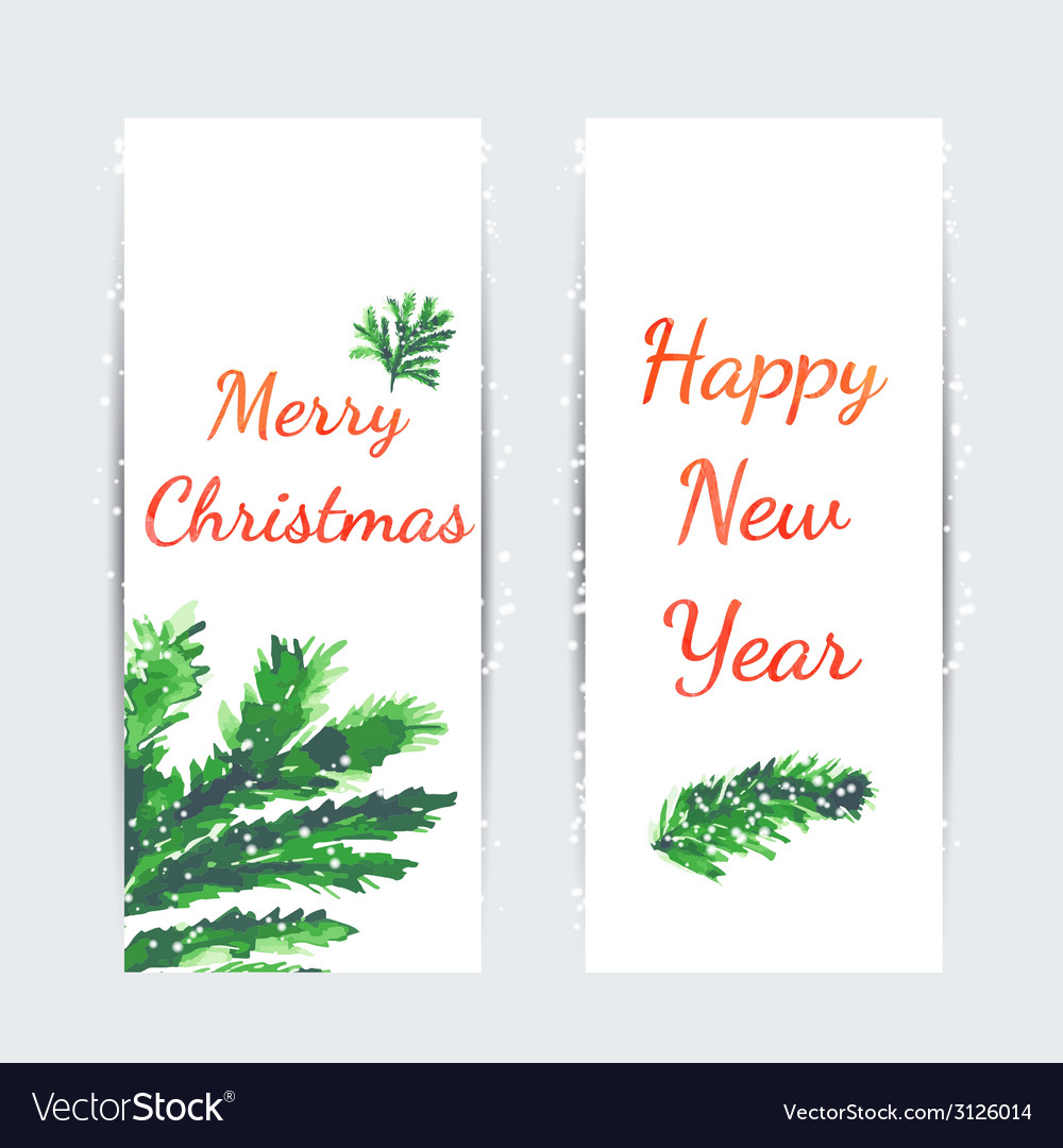 Christmas tree brunches banners vector | Price: 1 Credit (USD $1)