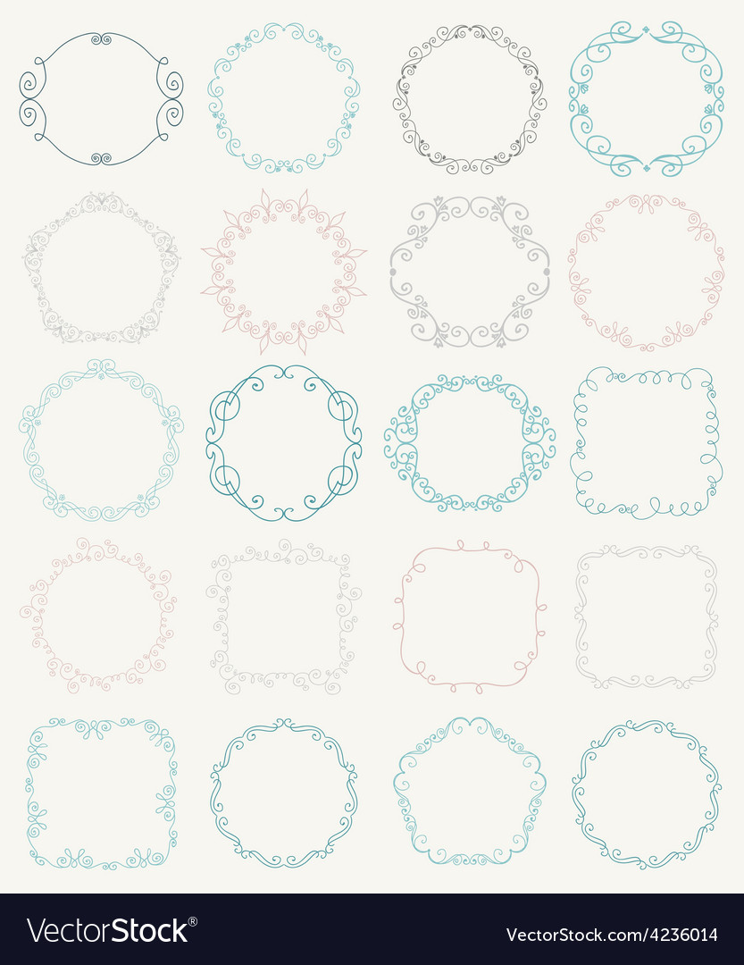 Hand sketched doodle borders and frames vector | Price: 1 Credit (USD $1)
