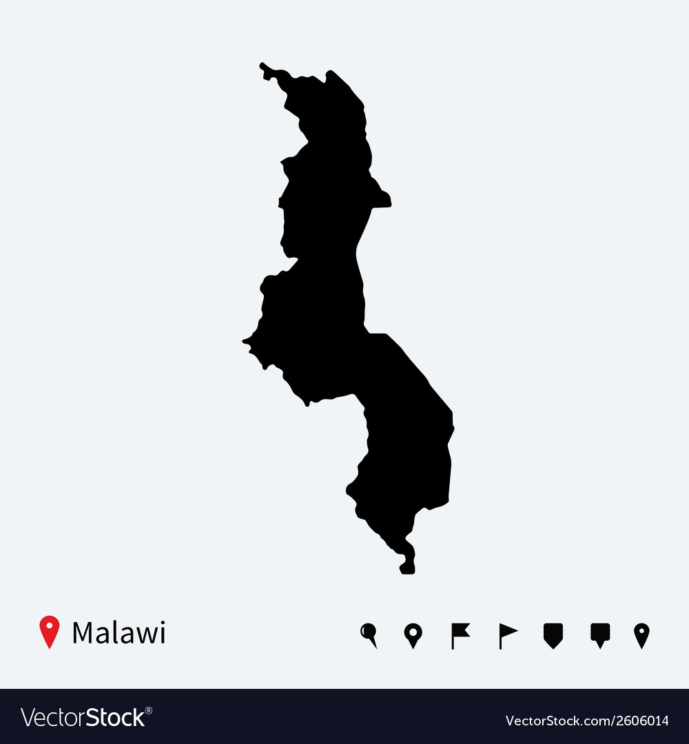 High detailed map of malawi with navigation pins vector | Price: 1 Credit (USD $1)