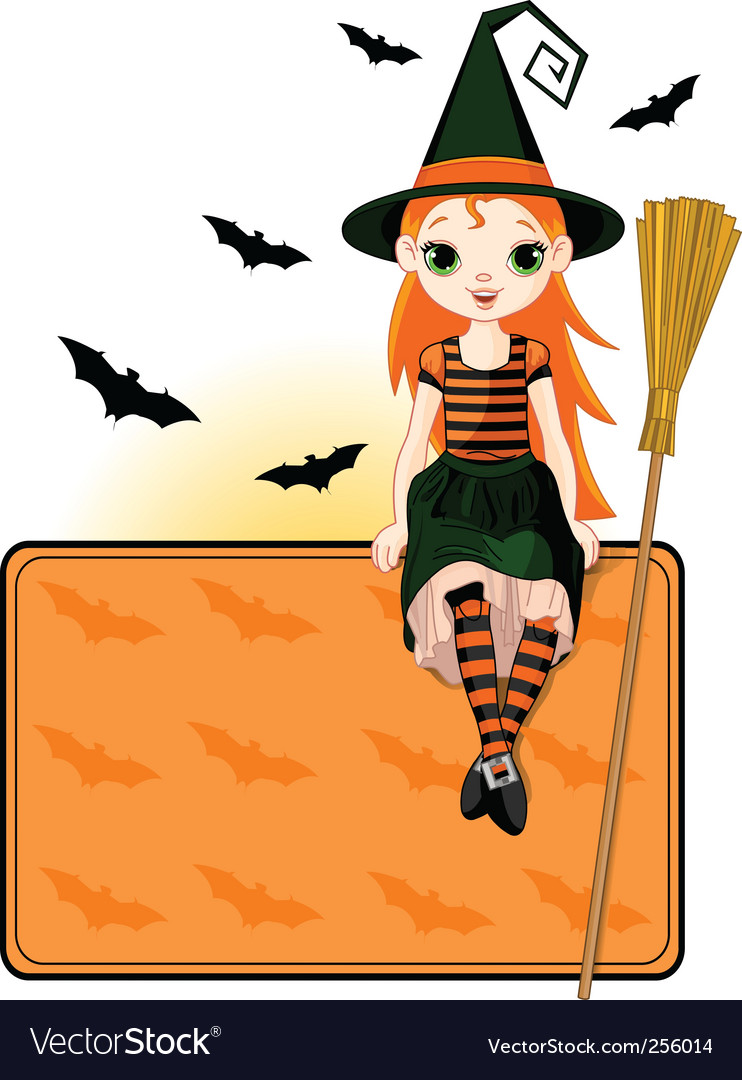 Little halloween witch place card vector