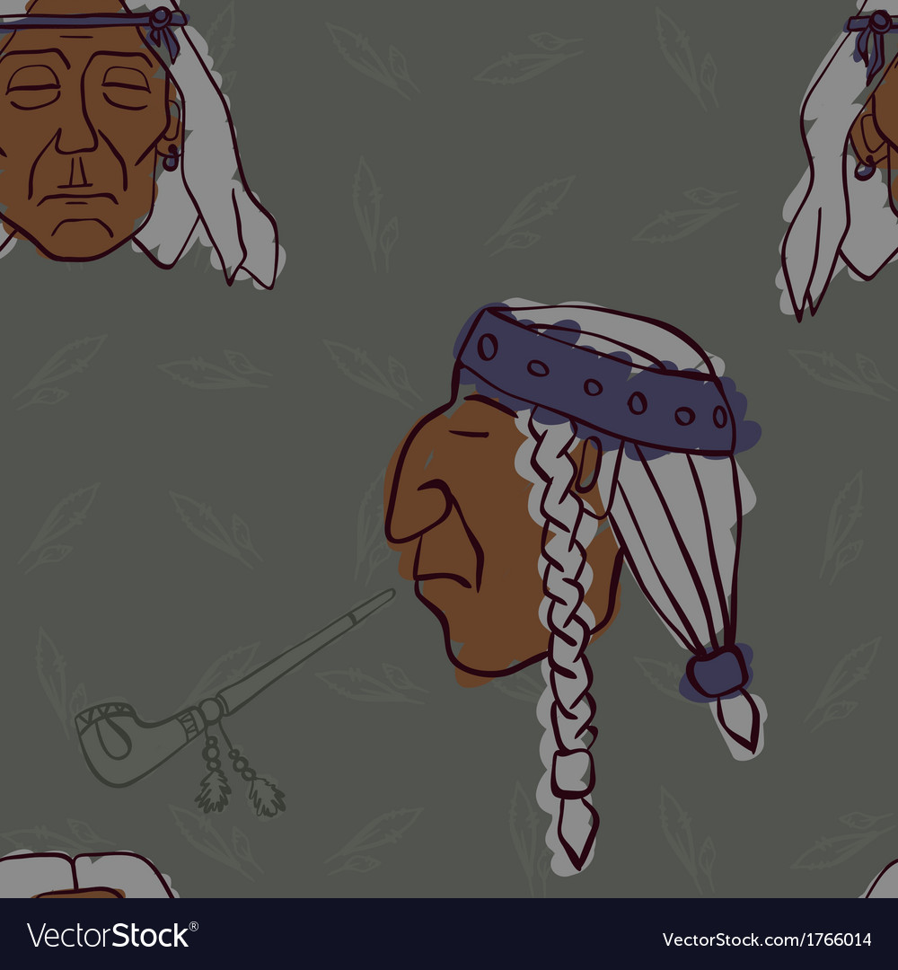 Pattern of red indian heads with peace pipes vector | Price: 1 Credit (USD $1)