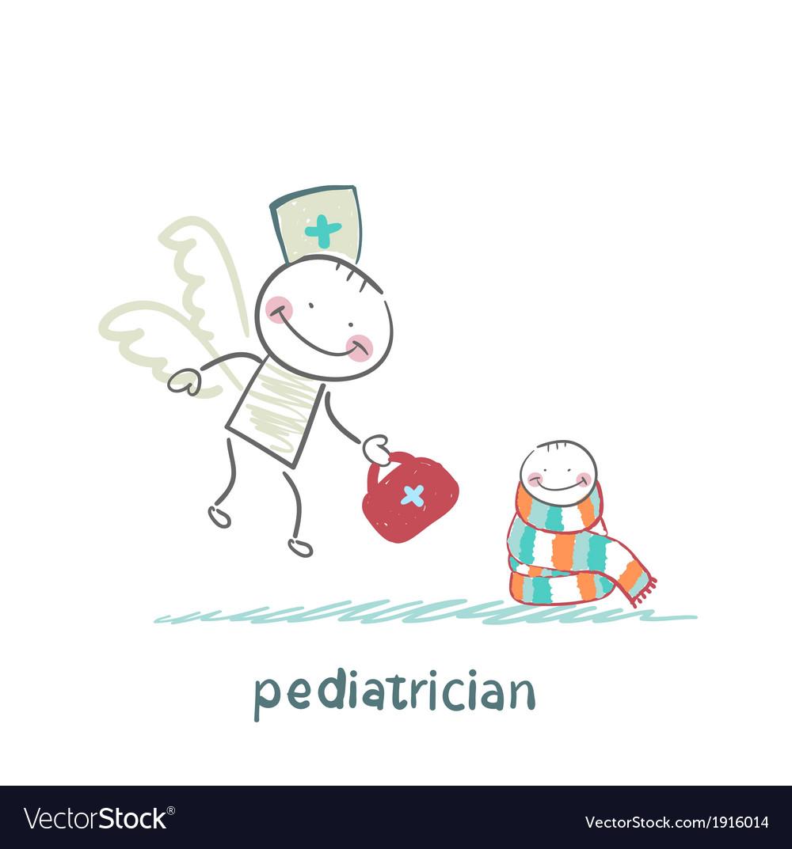 Pediatrician flies to a sick child vector | Price: 1 Credit (USD $1)