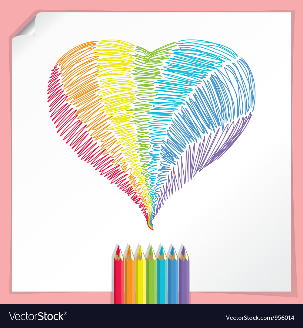 Rainbow heart with colour pencils vector | Price:  Credit (USD $)