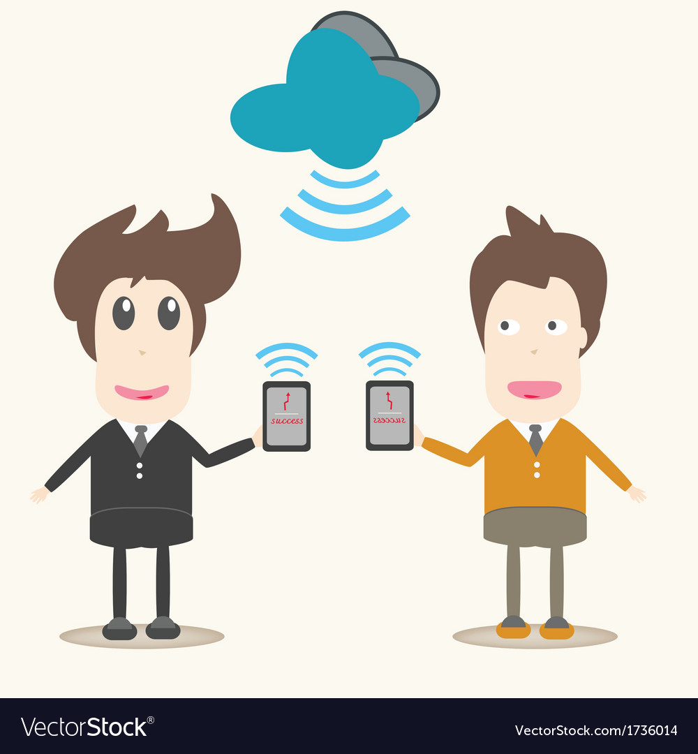 Transferring data business men vector | Price: 1 Credit (USD $1)