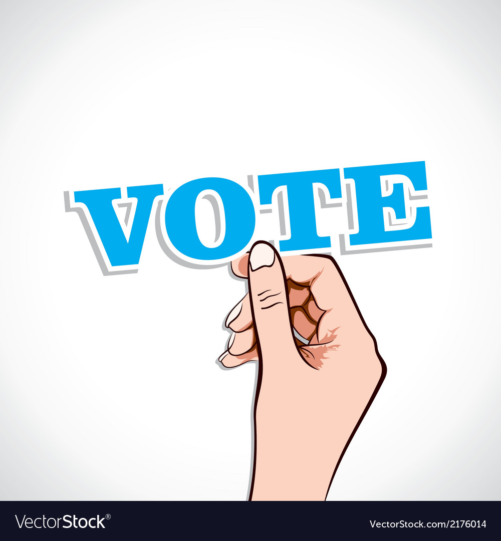 Vote text in hand vector | Price: 1 Credit (USD $1)