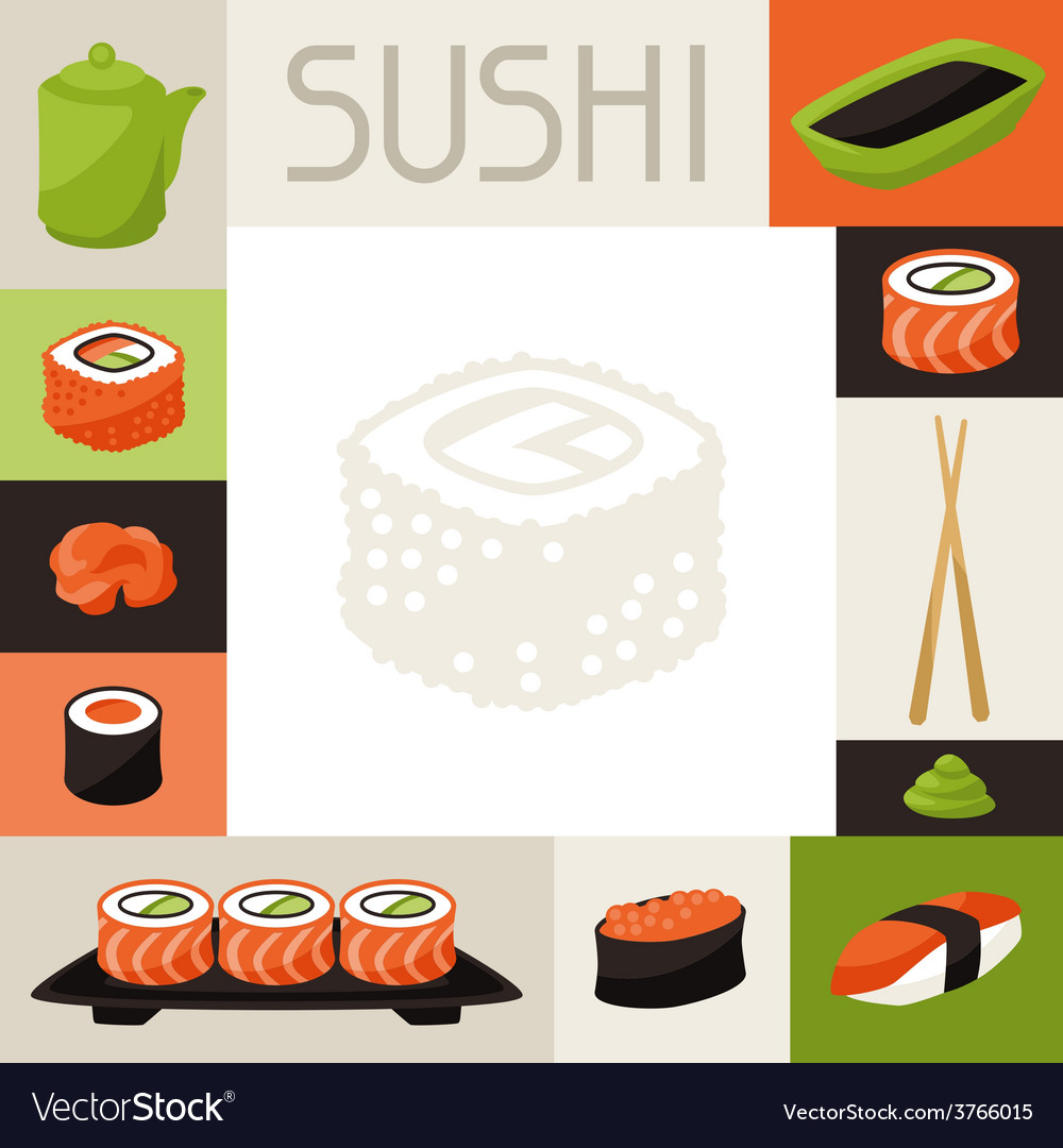 Background with sushi vector | Price: 1 Credit (USD $1)