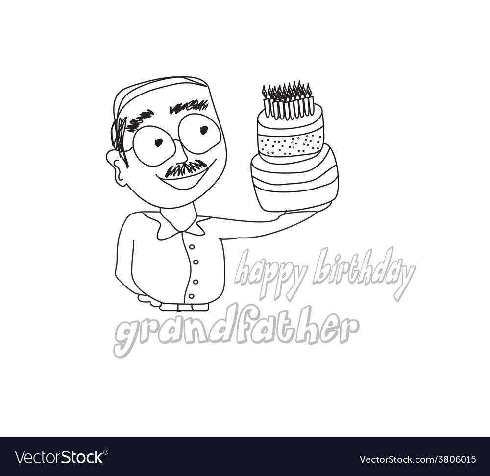 Birthday cake hold by grandfather vector | Price: 1 Credit (USD $1)
